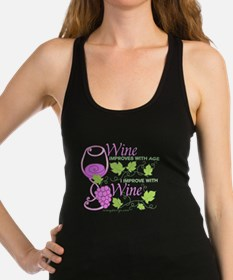 Wine Improves With Age Saying Racerback Tank Top