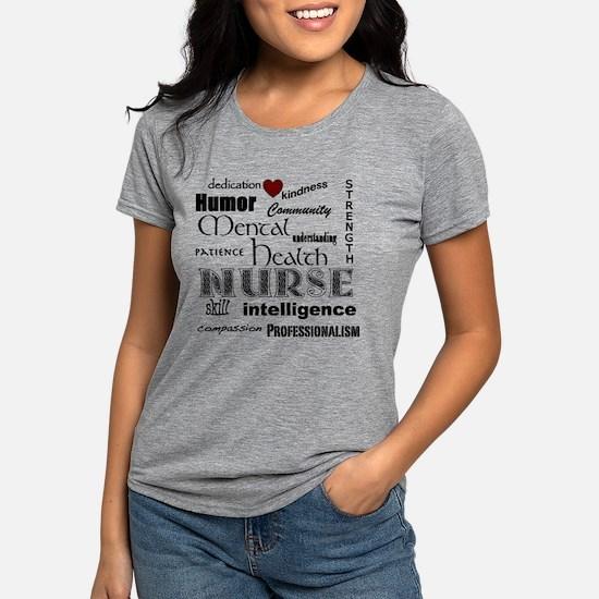 Mental Health Nurse Black-red hear T-Shirt