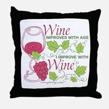 Wine Improves With Age Throw Pillow