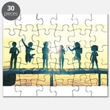 Happy Children Playing Puzzle