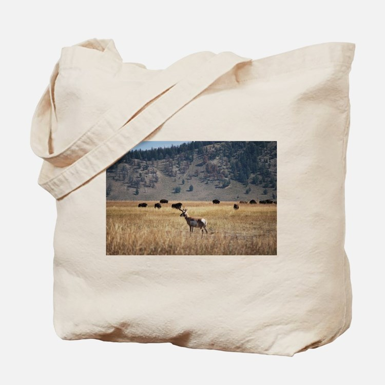 Yellowstone Bison and Antelope Tote Bag