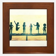 Happy Children Playing Framed Tile