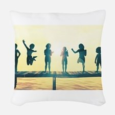 Happy Children Playing Woven Throw Pillow