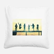 Happy Children Playing Square Canvas Pillow