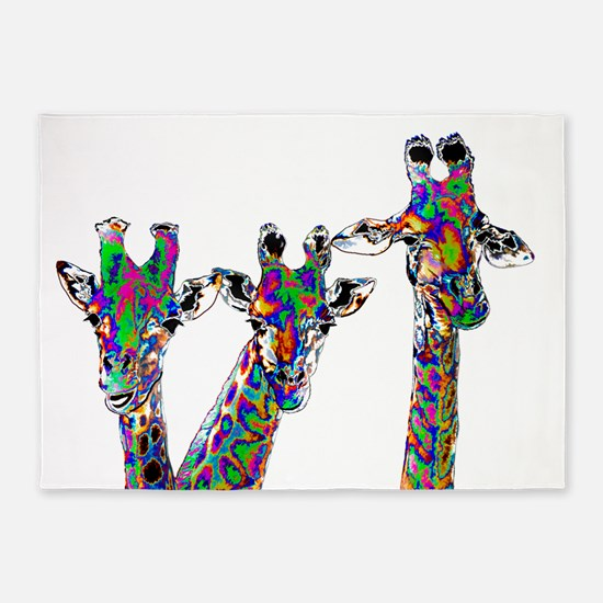 Giraffes in New Pajamas 5'x7'Area Rug