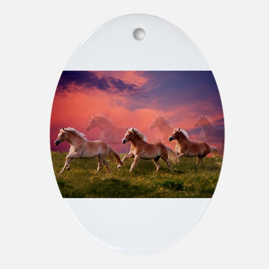 HAFLINGER HORSES Oval Ornament