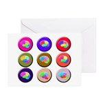 Brain Buttons2 Greeting Cards