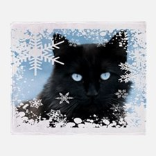 BLACK CAT & SNOWFLAKES (Blue) Throw Blanket