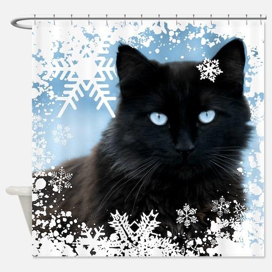 BLACK CAT & SNOWFLAKES (Blue) Shower Curtain