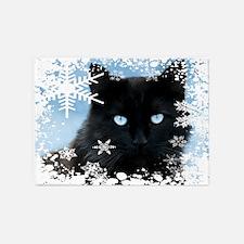 BLACK CAT & SNOWFLAKES (Blue) 5'x7'Area Rug