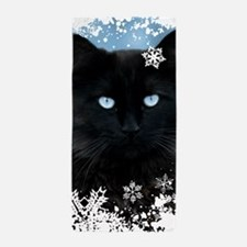 BLACK CAT & SNOWFLAKES (Blue) Beach Towel