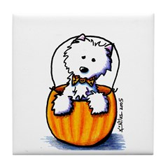 Pumpkin Patch Westie Tile Coaster
