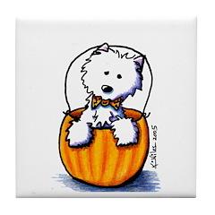 Pumpkin Patch Westie Tile Coaster
