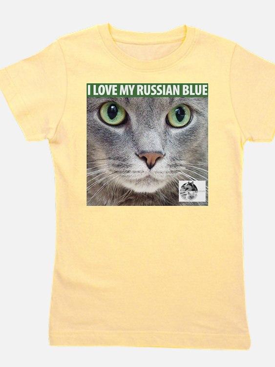 Cute Blue cat Girl's Tee