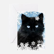 BLACK CAT & SNOWFLAKES ( Greeting Cards (Pk of 20)
