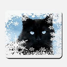 BLACK CAT & SNOWFLAKES (Blue) Mousepad