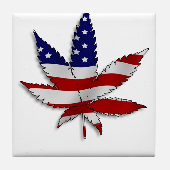 Flag Pot Leaf Tile Coaster