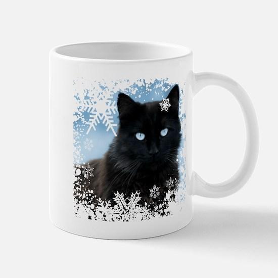 BLACK CAT & SNOWFLAKES (Blue) Mug