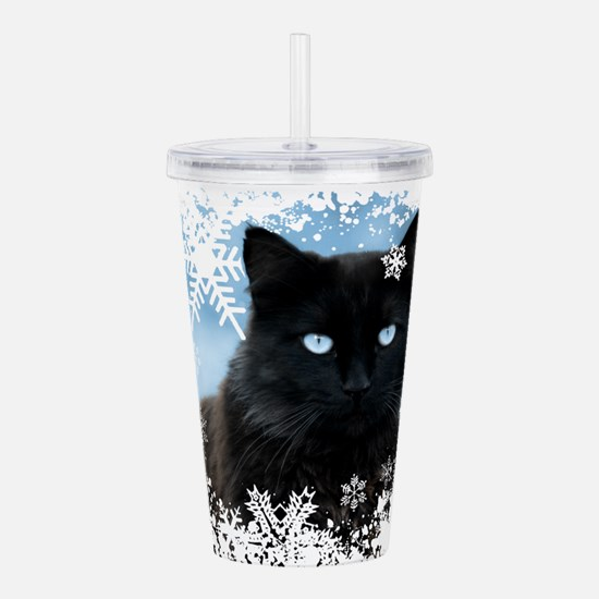 BLACK CAT & SNOWFLAKES Acrylic Double-wall Tumbler