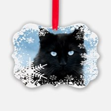 BLACK CAT & SNOWFLAKES (Blue) Ornament
