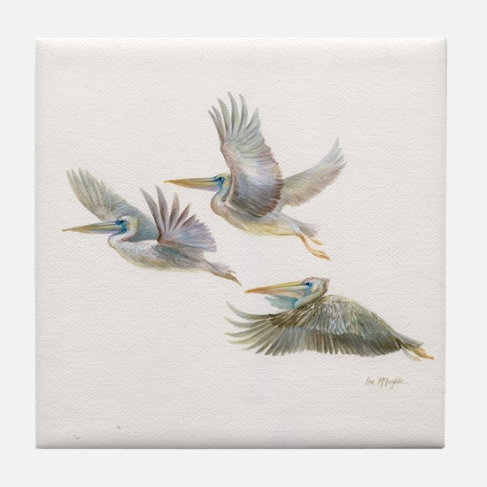 3 Pelicans Flying Tile Coaster