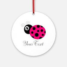Pesronalizable Pink and Black Ladybug Round Orname