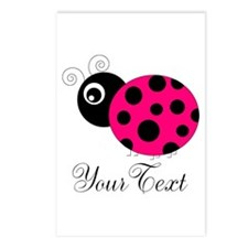 Pesronalizable Pink and Black Ladybug Postcards (P