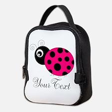 Pesronalizable Pink and Black Ladybug Neoprene Lun