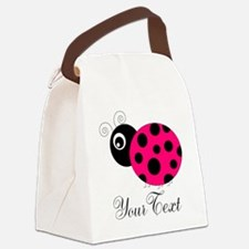 Pesronalizable Pink and Black Ladybug Canvas Lunch