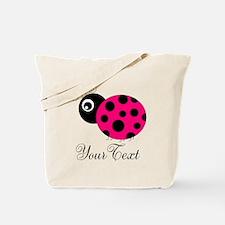 Pesronalizable Pink and Black Ladybug Tote Bag