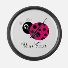 Pesronalizable Pink and Black Ladybug Large Wall C