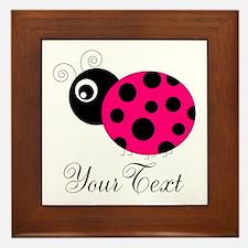 Pesronalizable Pink and Black Ladybug Framed Tile