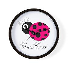 Pesronalizable Pink and Black Ladybug Wall Clock