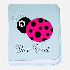 Pesronalizable Pink and Black Ladybug baby blanket