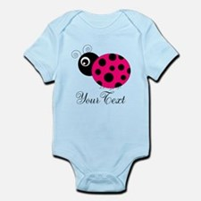 Pesronalizable Pink and Black Ladybug Body Suit