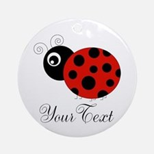 Red and Black Personalizable Ladybug Round Ornamen
