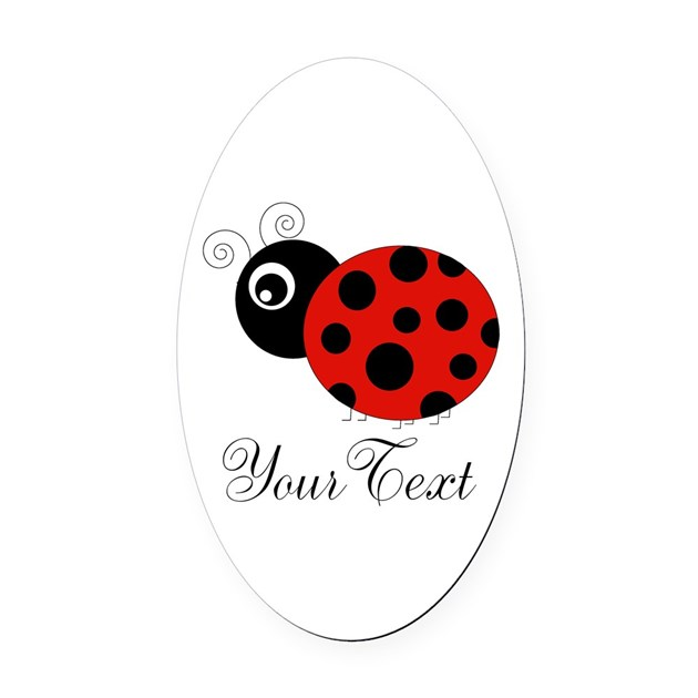 red and black personalizable ladybug oval car magn by personalizationstation. Black Bedroom Furniture Sets. Home Design Ideas
