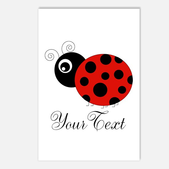 Red and Black Personalizable Ladybug Postcards (Pa