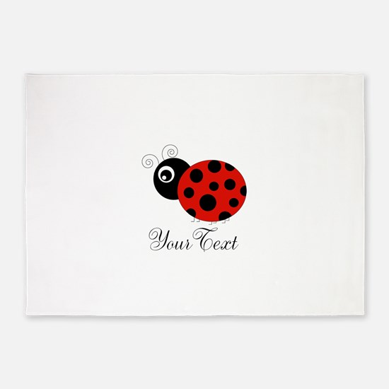 Red and Black Personalizable Ladybug 5'x7'Area Rug