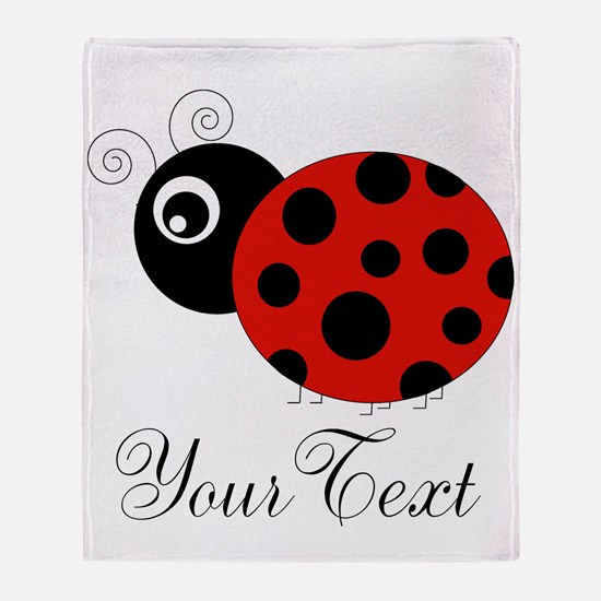 Red and Black Personalizable Ladybug Throw Blanket