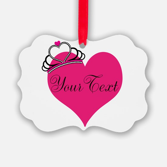 Personalizable Pink Heart with Crown Ornament