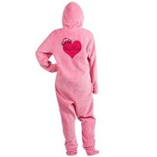 Personalizable Pink Heart with Crown Footed Pajamas