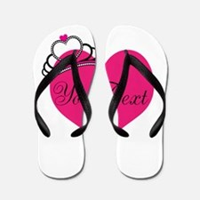 Personalizable Pink Heart with Crown Flip Flops