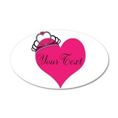 Personalizable Pink Heart with Crown Wall Decal