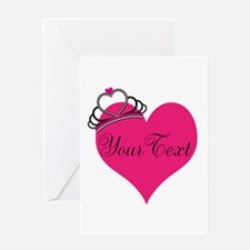 Personalizable Pink Heart with Crown Greeting Card