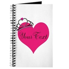 Personalizable Pink Heart with Crown Journal
