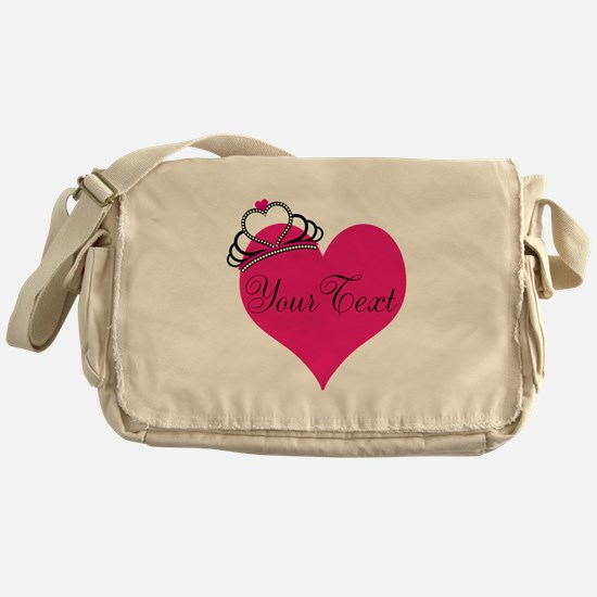 Personalizable Pink Heart with Crown Messenger Bag