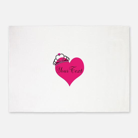 Personalizable Pink Heart with Crown 5'x7'Area Rug