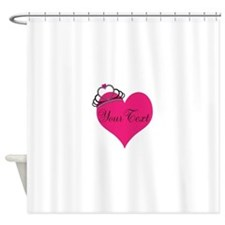 Personalizable Pink Heart with Crown Shower Curtai