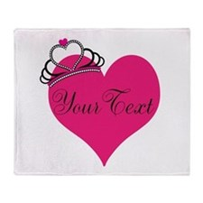 Personalizable Pink Heart with Crown Throw Blanket